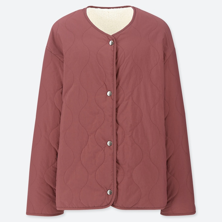 WOMEN PILE-LINED FLEECE QUILTED REVERSIBLE JACKET, WINE, large