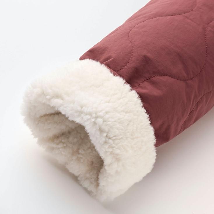 Women Pile-Lined Fleece Quilted Reversible Jacket, Beige, Large