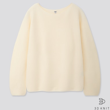 Women 3d Cotton Volume-Sleeve Sweater, Off White, Medium