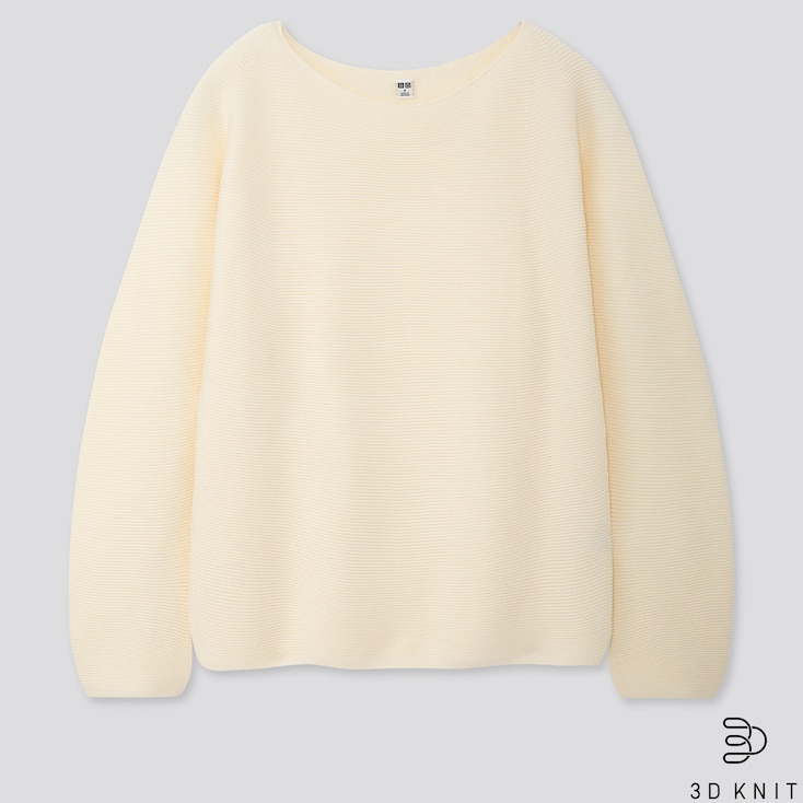 WOMEN COTTON VOLUME-SLEEVE SWEATER, OFF WHITE, large