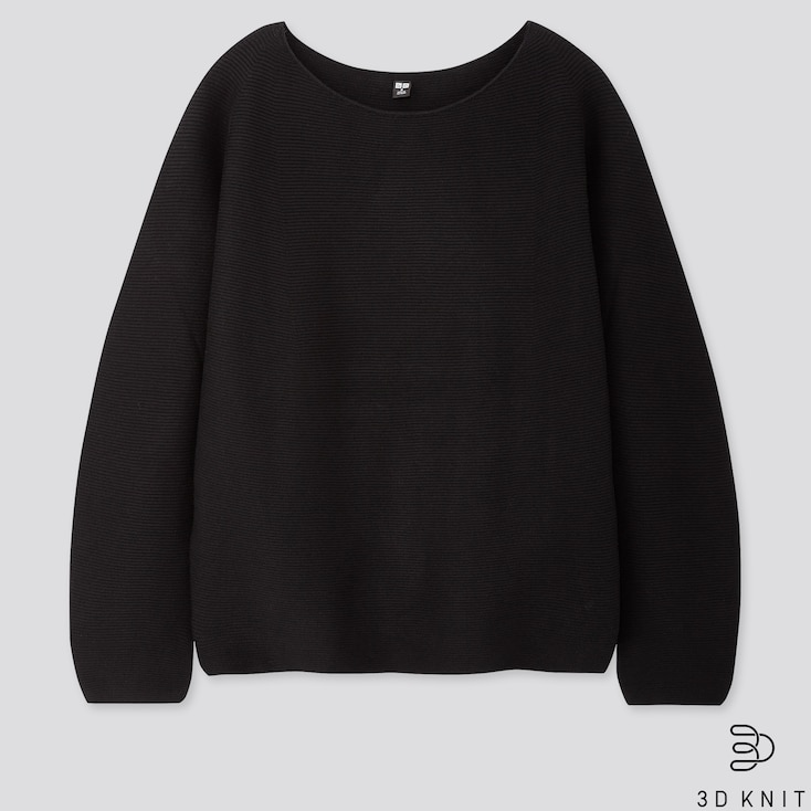 Women 3d Cotton Volume-Sleeve Sweater, Black, Large