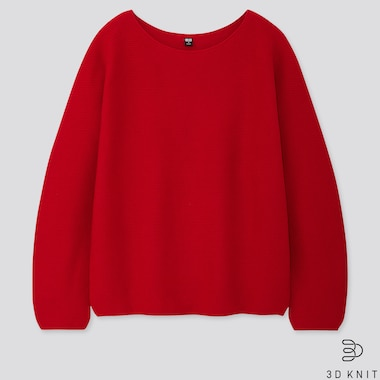 Women 3d Cotton Volume-Sleeve Sweater, Red, Medium