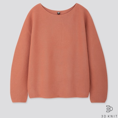 WOMEN COTTON VOLUME-SLEEVE SWEATER, ORANGE, medium