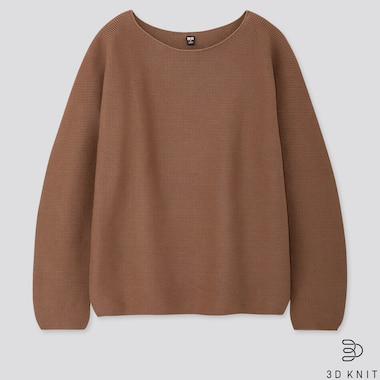 WOMEN COTTON VOLUME-SLEEVE SWEATER, BROWN, medium