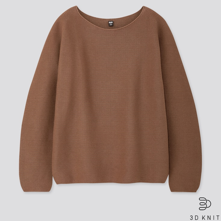 Women 3d Cotton Volume-Sleeve Sweater, Brown, Large