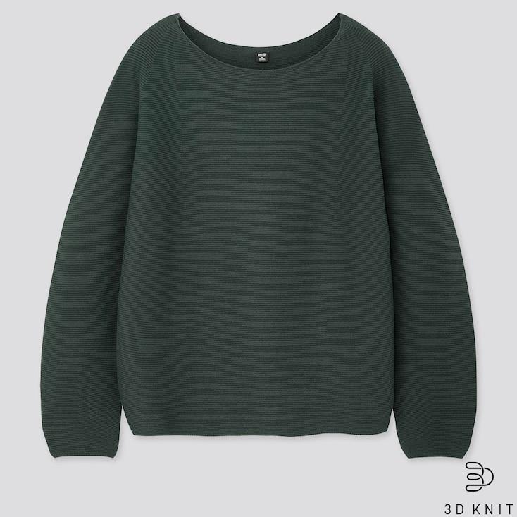 Women 3d Cotton Volume-Sleeve Sweater, Dark Green, Large