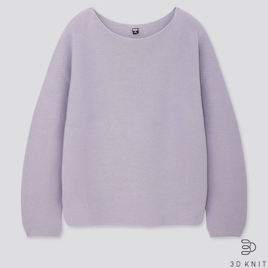 Women 3d Cotton Volume-Sleeve Sweater, Purple, Medium