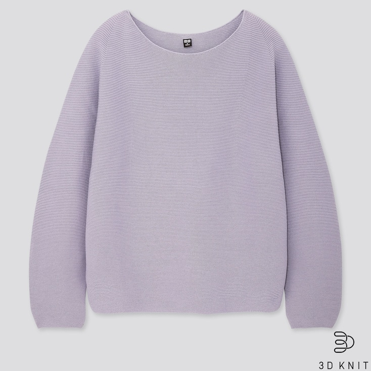 Women 3d Cotton Volume-Sleeve Sweater, Purple, Large