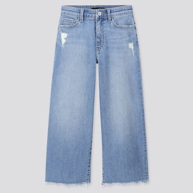 JEAN CROPPED TAILLE HAUTE COUPE LARGE FEMME