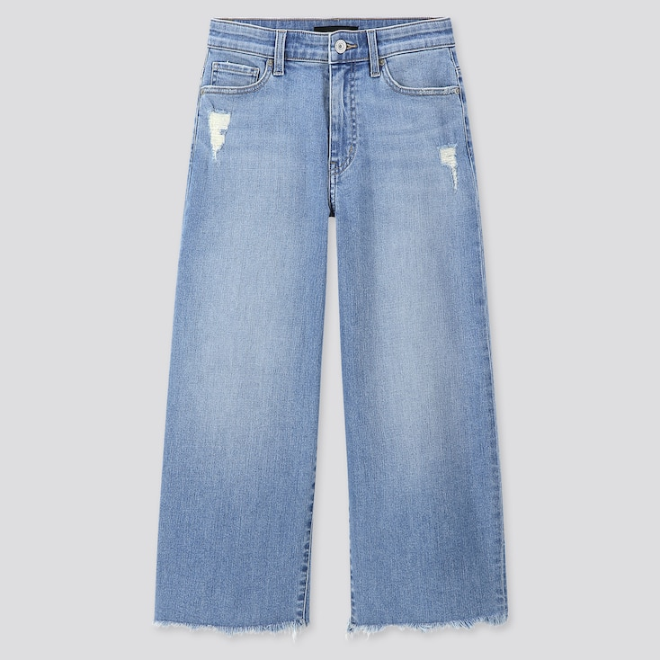 WOMEN HIGH-RISE WIDE CROPPED JEANS, BLUE, large