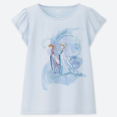 Girls Disney Heroines Ut (Short-Sleeve Graphic T-Shirt), Light Blue, Medium