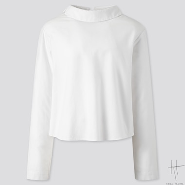 WOMEN MOCK NECK LONG-SLEEVE BLOUSE (HANA TAJIMA), WHITE, medium
