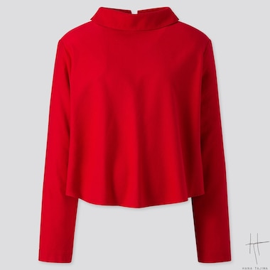 WOMEN MOCK NECK LONG-SLEEVE BLOUSE (HANA TAJIMA), RED, medium