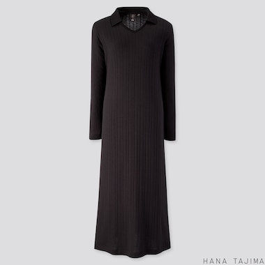 WOMEN RIBBED V-NECK LONG-SLEEVE LONG DRESS (HANA TAJIMA), BLACK, medium
