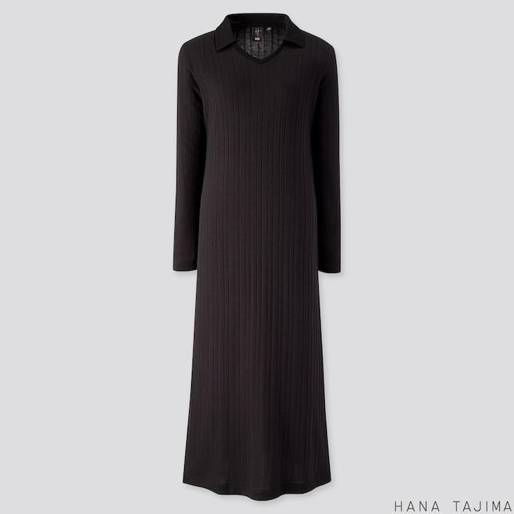 WOMEN RIBBED V-NECK LONG-SLEEVE LONG DRESS (HANA TAJIMA), BLACK, large