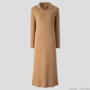 WOMEN RIBBED V-NECK LONG-SLEEVE LONG DRESS (HANA TAJIMA), BEIGE, medium