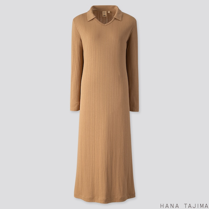 WOMEN RIBBED V-NECK LONG-SLEEVE LONG DRESS (HANA TAJIMA), BEIGE, large