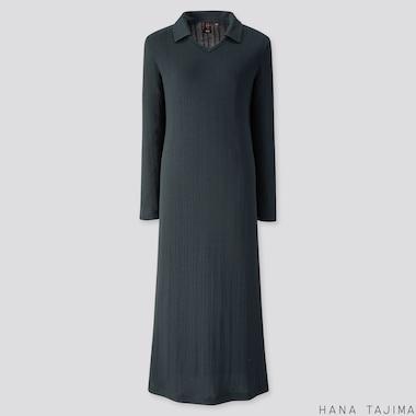 WOMEN RIBBED V-NECK LONG-SLEEVE LONG DRESS (HANA TAJIMA), DARK GREEN, medium