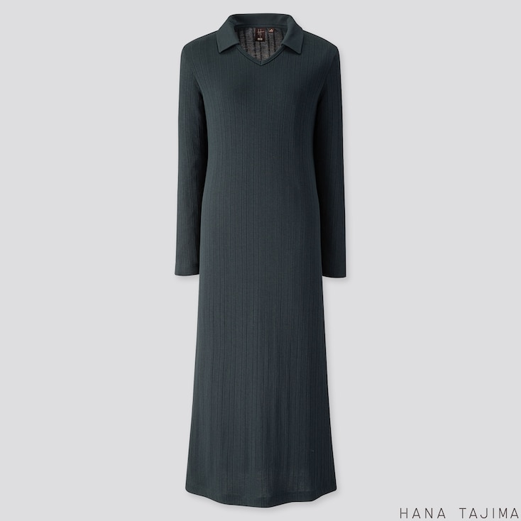 WOMEN RIBBED V-NECK LONG-SLEEVE LONG DRESS (HANA TAJIMA), DARK GREEN, large
