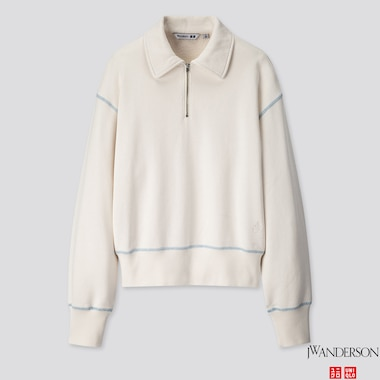 WOMEN LONG-SLEEVE HALF-ZIP SWEAT PULLOVER (JW ANDERSON), WHITE, medium