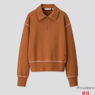 WOMEN LONG-SLEEVE HALF-ZIP SWEAT PULLOVER (JW ANDERSON), BROWN, medium