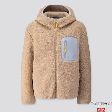 WOMEN PILE-LINED FLEECE LONG-SLEEVE FULL-ZIP HOODIE (JW Anderson), NATURAL, medium