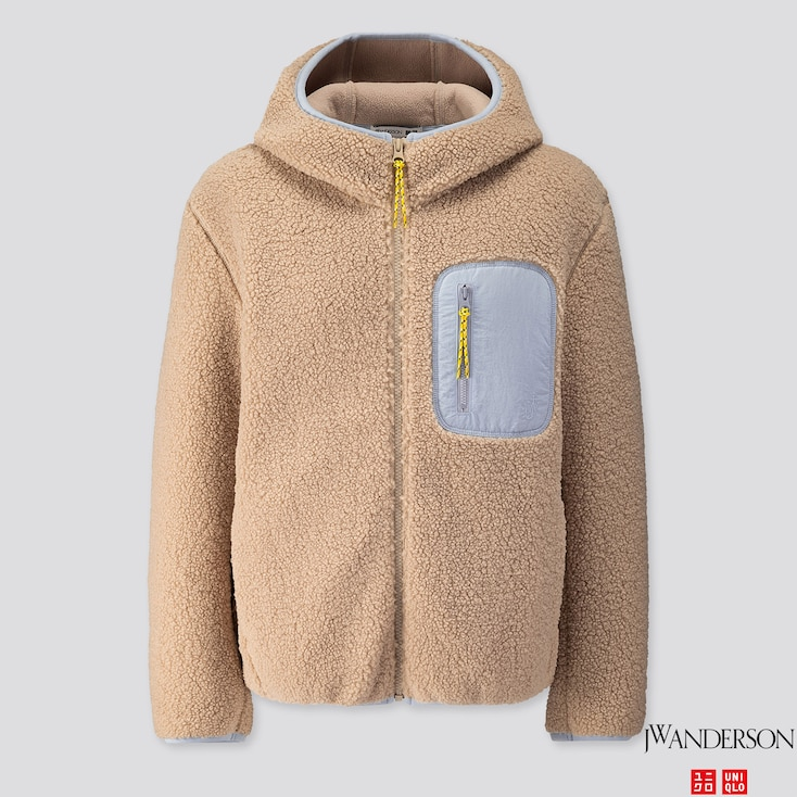 Women Pile-lined Fleece Long-sleeve Full-zip Hoodie (jw Anderson), Natural, Large