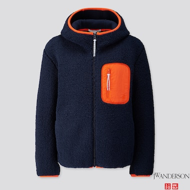 WOMEN PILE-LINED FLEECE LONG-SLEEVE FULL-ZIP HOODIE (JW Anderson), NAVY, medium