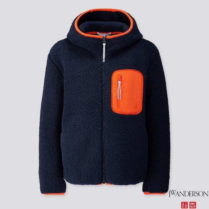 Women Pile-Lined Fleece Long-Sleeve Full-Zip Hoodie (Jw Anderson), Navy, Large