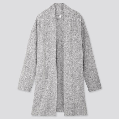 WOMEN SOFT KNITTED FLEECE CARDIGAN, GRAY, medium