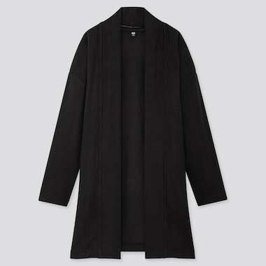 WOMEN SOFT KNITTED FLEECE CARDIGAN, BLACK, medium