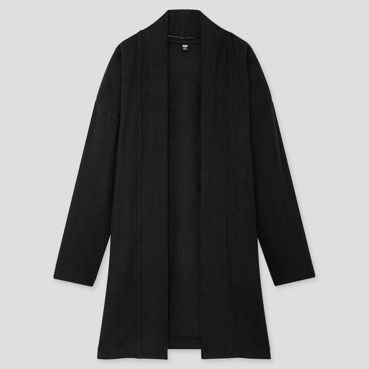 Women Soft Knitted Fleece Cardigan, Black, Large