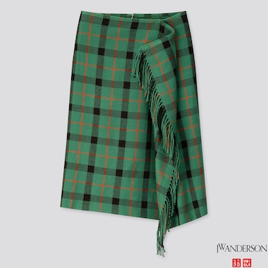 WOMEN FRINGE SKIRT (JW ANDERSON), GREEN, medium