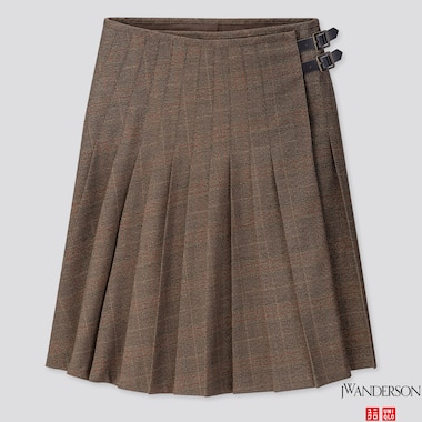 WOMEN PLEATED SKIRT (JW ANDERSON), DARK BROWN, medium