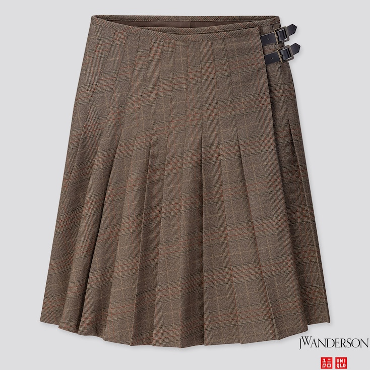 WOMEN PLEATED SKIRT (JW ANDERSON), DARK BROWN, large