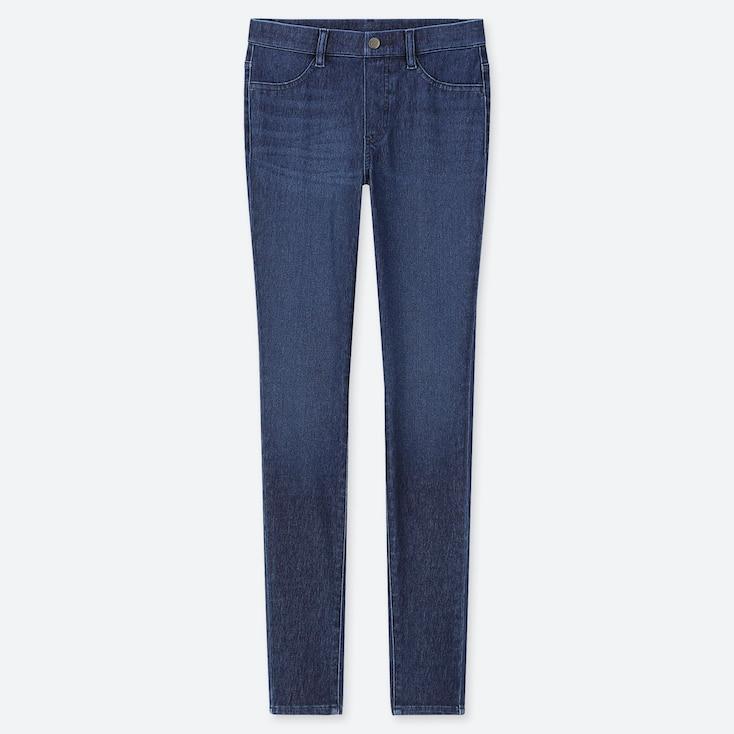 WOMEN ULTRA STRETCH DENIM LEGGINGS PANTS, BLUE, large