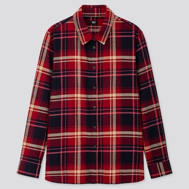 6100496e915346 WOMEN FLANNEL CHECKED LONG-SLEEVE SHIRT, RED, medium