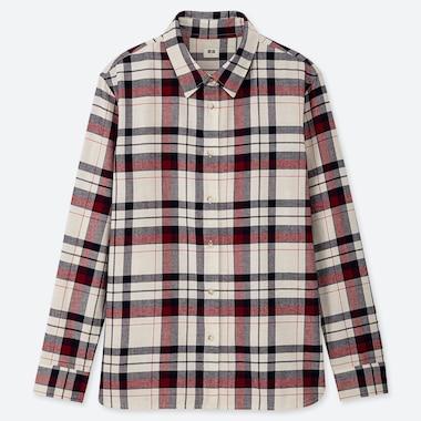 WOMEN FLANNEL CHECKED LONG-SLEEVE SHIRT, OFF WHITE, medium