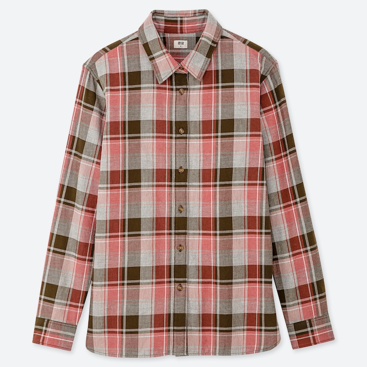 WOMEN FLANNEL CHECKED LONG-SLEEVE SHIRT, PINK, large
