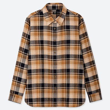 WOMEN FLANNEL CHECKED LONG-SLEEVE SHIRT, YELLOW, medium