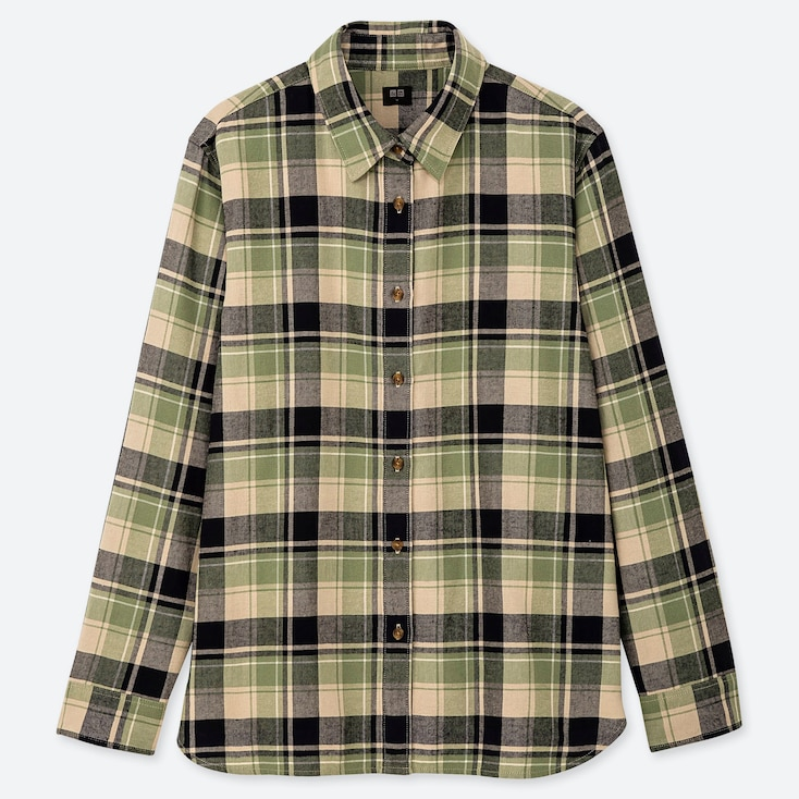 WOMEN FLANNEL CHECKED LONG-SLEEVE SHIRT, GREEN, large