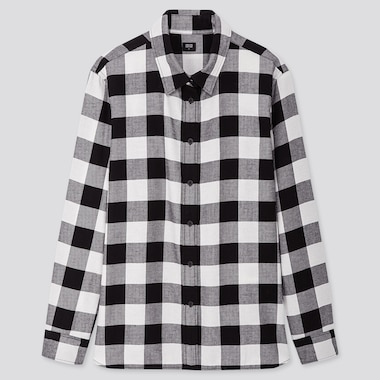 Women Flannel Checked Long-Sleeve Shirt, Black, Medium