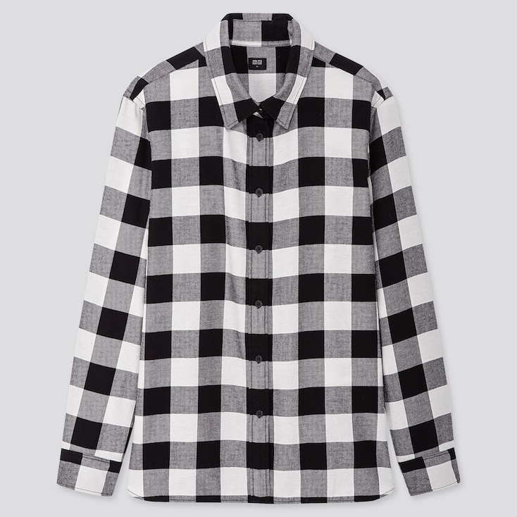 WOMEN FLANNEL CHECKED LONG-SLEEVE SHIRT, BLACK, large
