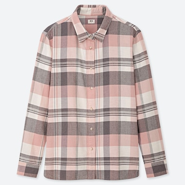 WOMEN FLANNEL CHECKED LONG-SLEEVE SHIRT, PINK, medium