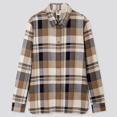 Women Flannel Checked Long-Sleeve Shirt, Beige, Medium