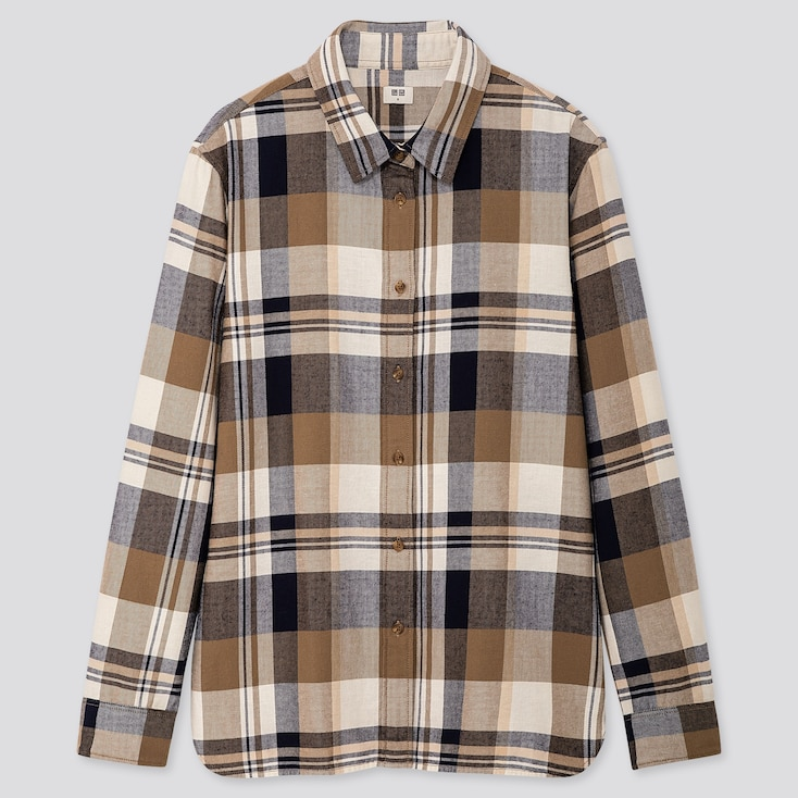 WOMEN FLANNEL CHECKED LONG-SLEEVE SHIRT, BEIGE, large