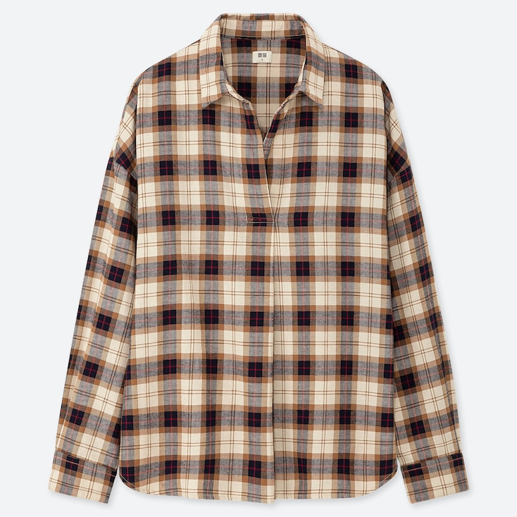 WOMEN FLANNEL CHECKED SKIPPER COLLAR LONG-SLEEVE SHIRT, BEIGE, large