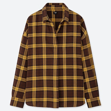 WOMEN FLANNEL CHECKED SKIPPER COLLAR LONG-SLEEVE SHIRT, DARK BROWN, medium
