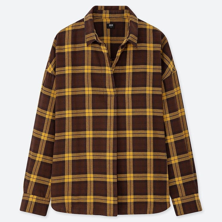 WOMEN FLANNEL CHECKED SKIPPER COLLAR LONG-SLEEVE SHIRT, DARK BROWN, large