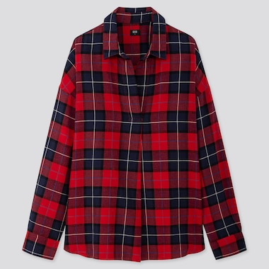 WOMEN FLANNEL CHECKED SKIPPER COLLAR LONG-SLEEVE SHIRT, RED, medium